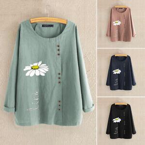 Belle-Femme-Shirt-imprime-Manche-Longue-Col-Rond-Decontracte-lache-Chemise-Plus