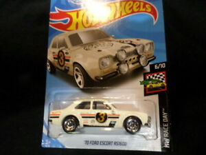 2019 Hot Wheels /'70 Ford Escort RS1600-1:64 1//64 HW Race Day 6//10 White