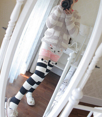 Cute Bear Sheep 3D Ears Pink&White Stripe Over-knee Stocking Sock Thigh-high