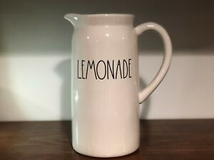 Rae-Dunn-Artisan-Collection-By-Magenta-Ceramic-LEMONADE-LL-Ivory-Pitcher-HTF