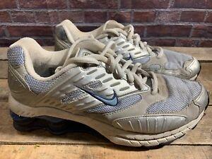 NIKE Shox Running Women s Shoe Size 9 Silver Blue White 307624-441 ... f8712a1d6