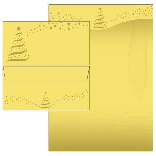 Weihnachtsterne Gold Stars Set Motivpapier Briefpapier 100 Blatt A4+100 Kuverts