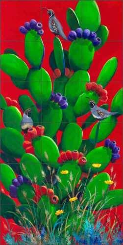 Cactus Tile Backsplash Susan Libby Southwest Art Ceramic Mural SLA083