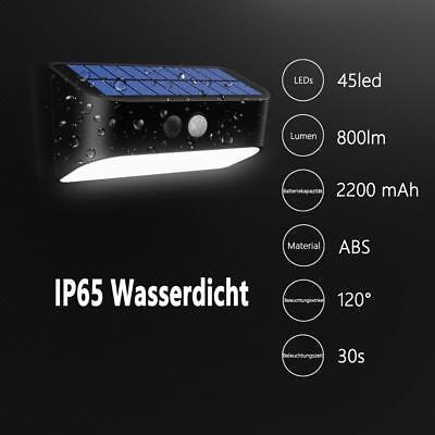 Kaltweiß 45LEDs Solarlampen Außenleuchte mit Bewegungsmelder IP65 Wandlampe Neu