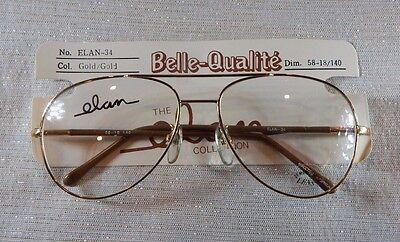 Vintage Elan 34 Gold//Red 56//18 Double Br Aviator Eyeglass Frame NOS #298