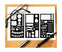 Pk Of 3 Mylar Stencils Journal/notebook/diary Drawing Template Planner Stencil 4