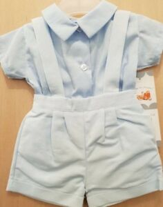 Baby-Boys-Spanish-Style-Shorts-Dungarees-Braces-amp-Shirt-Set-Outfit