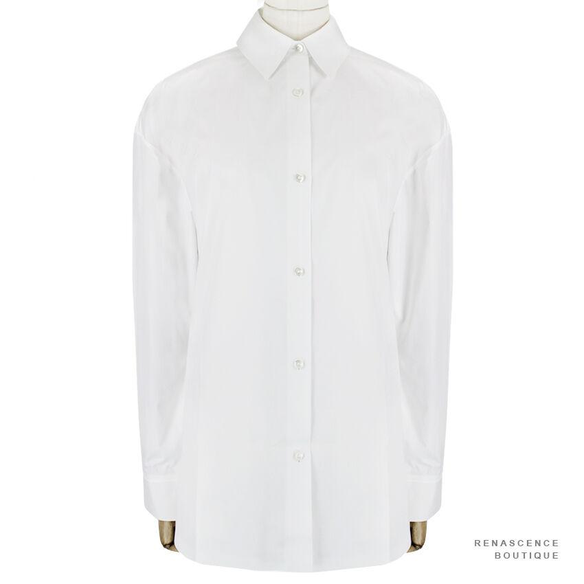 Alexander Wang Enamel White Bonded Fabric Oversized Shirt Blouse US4 UK8
