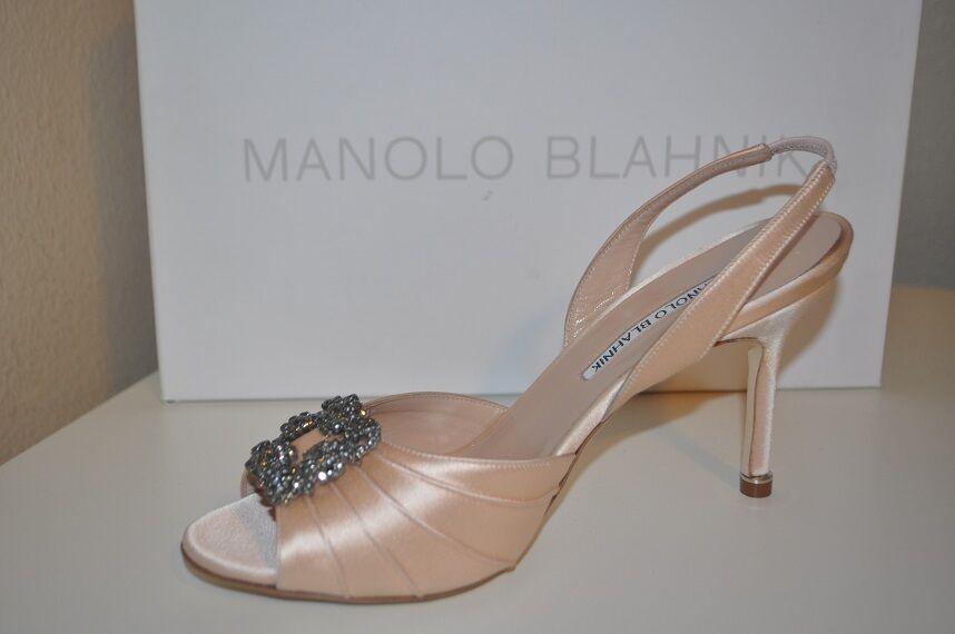 NIB MANOLO BLAHNIK CASSIA Open Toe Slingback Pump shoes shoes shoes bluesh Satin 40 - 9 2be2d0