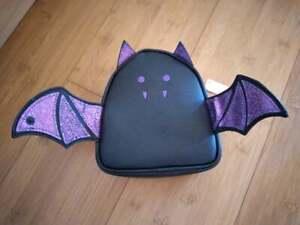 Bath and Body Works Halloween Black & Purple Glitter Bat Cosmetic Makeup Bag