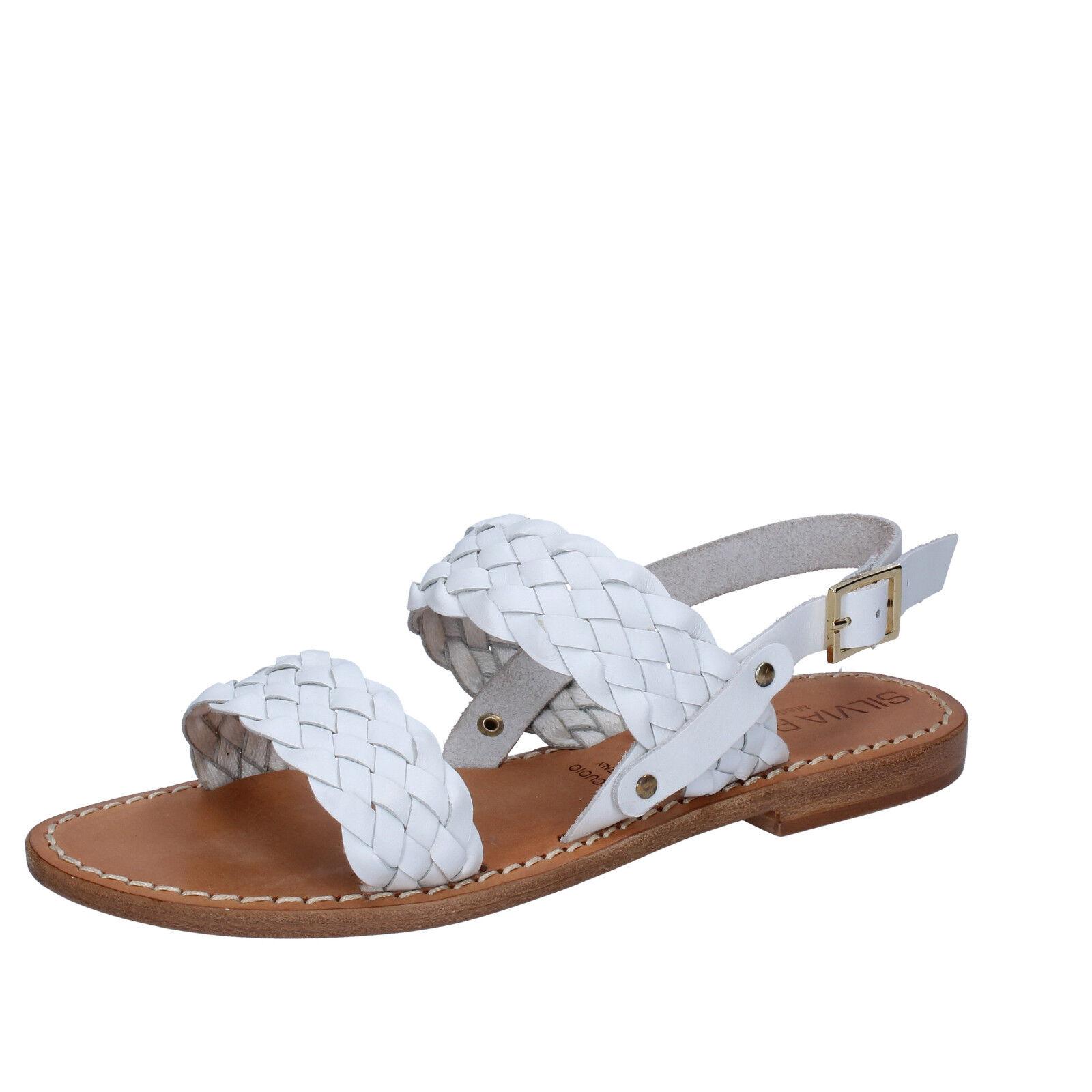 Damen schuhe SILVIA ROSSINI 35 EU sandalen weiß leder BZ582-B