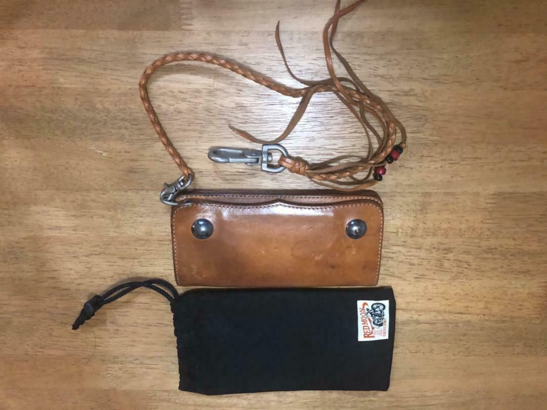 Red Moon Men's Long Wallet Handmade Concho Leather Chain Brown w/Special bag