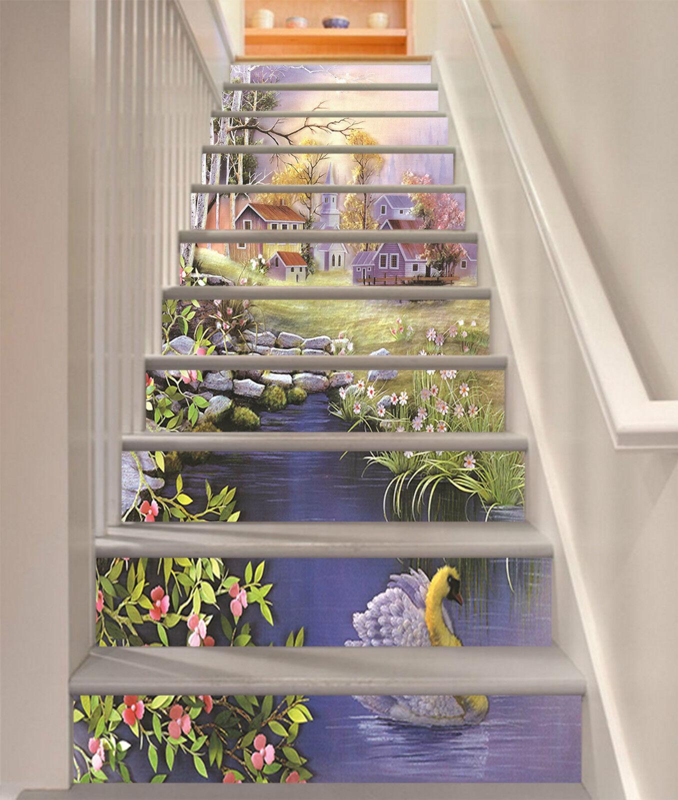 3d Joli Village 02 Stair Risers Décoration Papier Peint Vinyle Autocollant Papier Peint De
