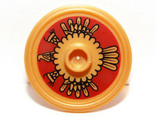 LEGO - Minifig, Shield Round w/ Stud & Ring Around Edge - Gold Aztec Pattern