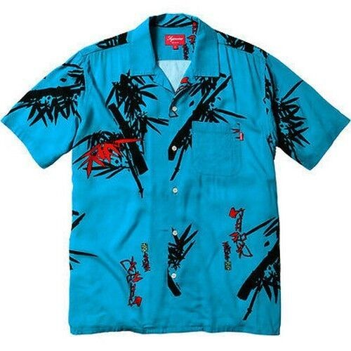 SUPREME Bamboo Shirt Bright Blau M Box Logo 2012 safari camp cap moss S/S 13