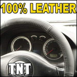Steering Wheel Cover Genuine Black-Grey Leather Fitted Glove For Audi