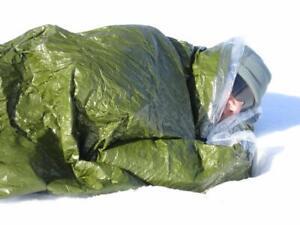Details About Blizzard Survival Sleeping Bag Bivvy Green Thermal Blanket Mylar Ifak Camping