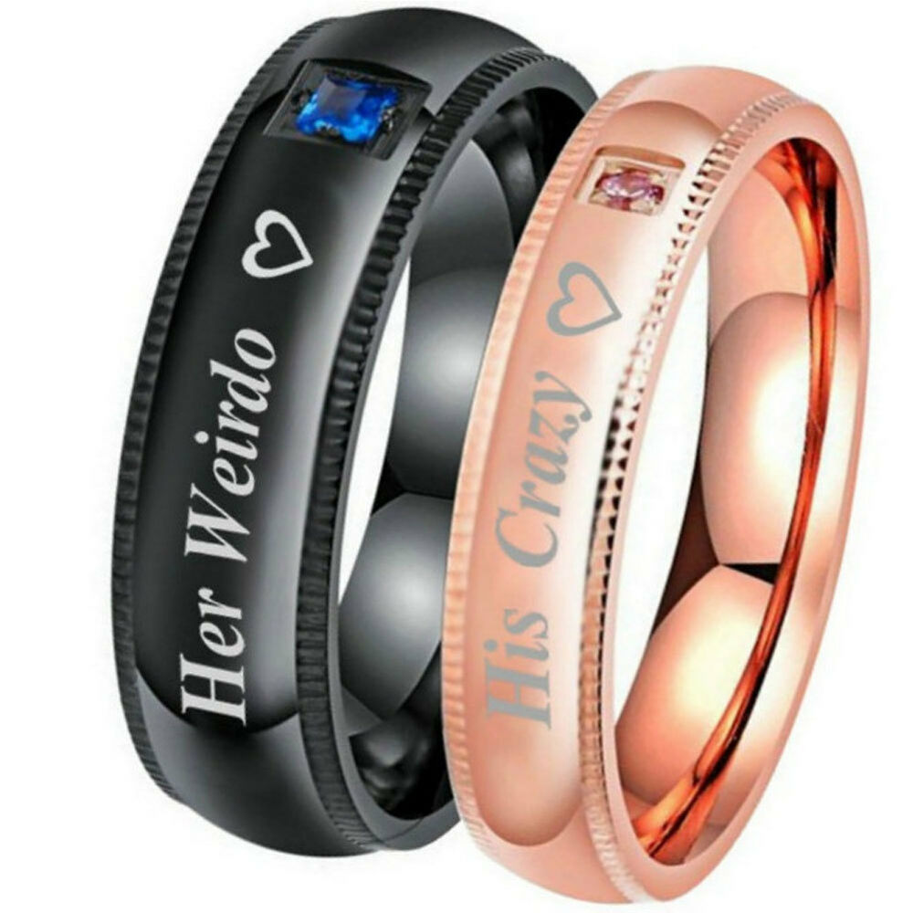 HK- His Crazy Her Weirdo Couple Jewelry Lovers Promise Ring Wedding Gifts Wide Fashion Jewelry