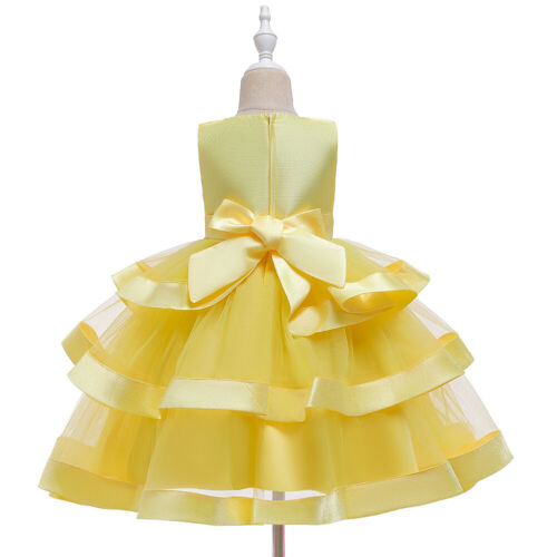 Kids Layered Tulle Princess Dresses Flower Girl Dress Pageant Costume Prom Gown