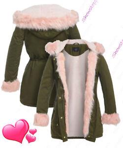 NEW-Womens-Oversized-Hood-Pink-Fur-Parka-Coat-Ladies-Khaki-Jacket-Size-8-to-16