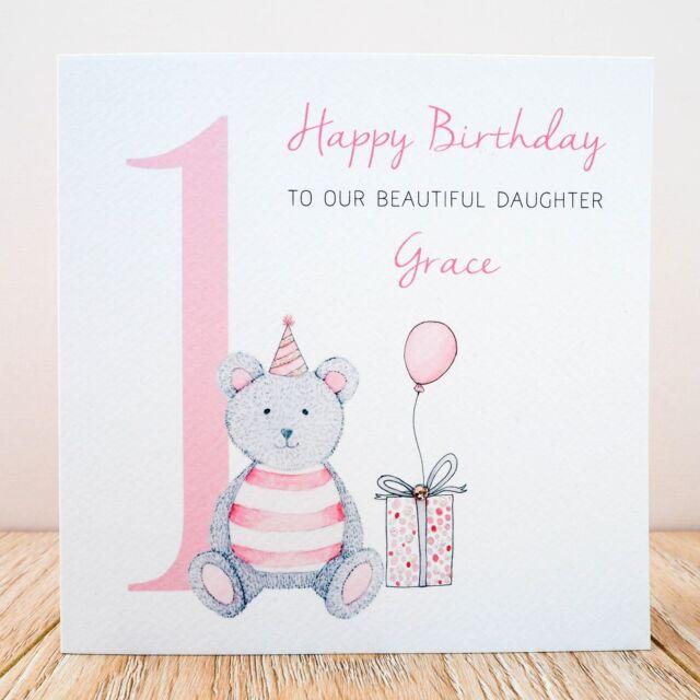 Handmade Personalised 1st Birthday Card Niece Daughter