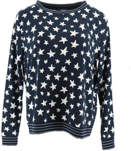 AnyBody Loungewear Printed Hacci Sweatshirt Navy Star M NEW A302193