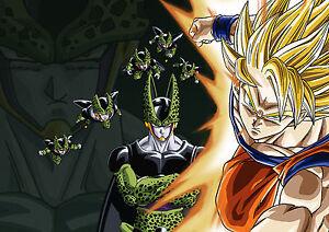 Amical Sticker Autocollant Poster A4 Manga Dragon Ball Z.sangoku Super Saiyan Vs Cell. Toujours Acheter Bien