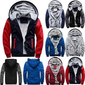 Mens-Winter-Hooded-Coat-thick-Fleece-Fur-Lined-Zip-Up-Hoodie-Sweatshirt-Jacket