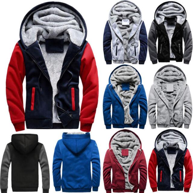 Vova | Mens M 4XL Winter Warm Fleece Hood Zipper Sweater