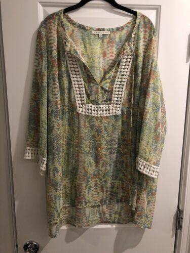Daniel Rainn Crochet Shirt Top Blouse 2X 3/4 Stitc