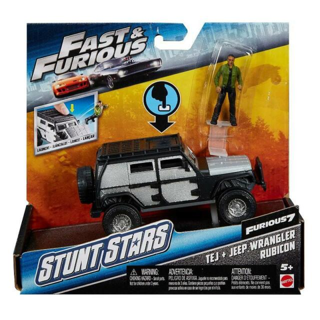 FAST & FURIOUS STUNT STATS TEJ & JEEP WRANGLER RUBICON FIGURE VEHICLE TOY