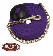 Showman 25 ft LUNGE LINE Flat Cotton Web with BRASS CHAIN Snap /& Rubber Stopper