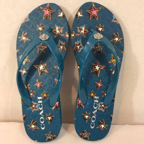 Coach Abbigail turnlock flip flops rubber sandals blue stars