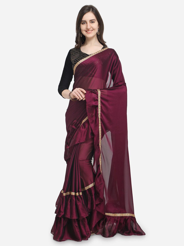 Burgundy Bollywood Party Wear Ruffle Saree Designer Sari