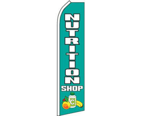 White Swooper Super Feather Advertising Flag Nutrition Shop Blue