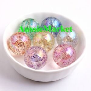 50-x-loose-glitter-clear-beads-craft-necklace-jewellery-making-plastic-10mm-new