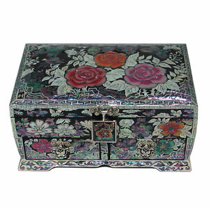 Mother-of-Pearl-Pink-Rose-Lacquer-Wood-Treasure-Jewelry-Earrings-Ring-Box-Case