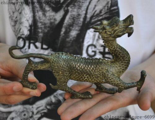 Old China bronze Feng Shui auspicious Dragon Loong Dragons Zodiac animal statue