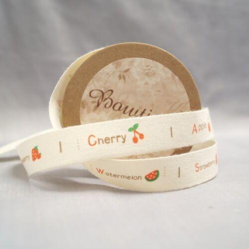 Bowtique Natural Cotton Fruit Bowl Ribbon 15mm x 5m Reel