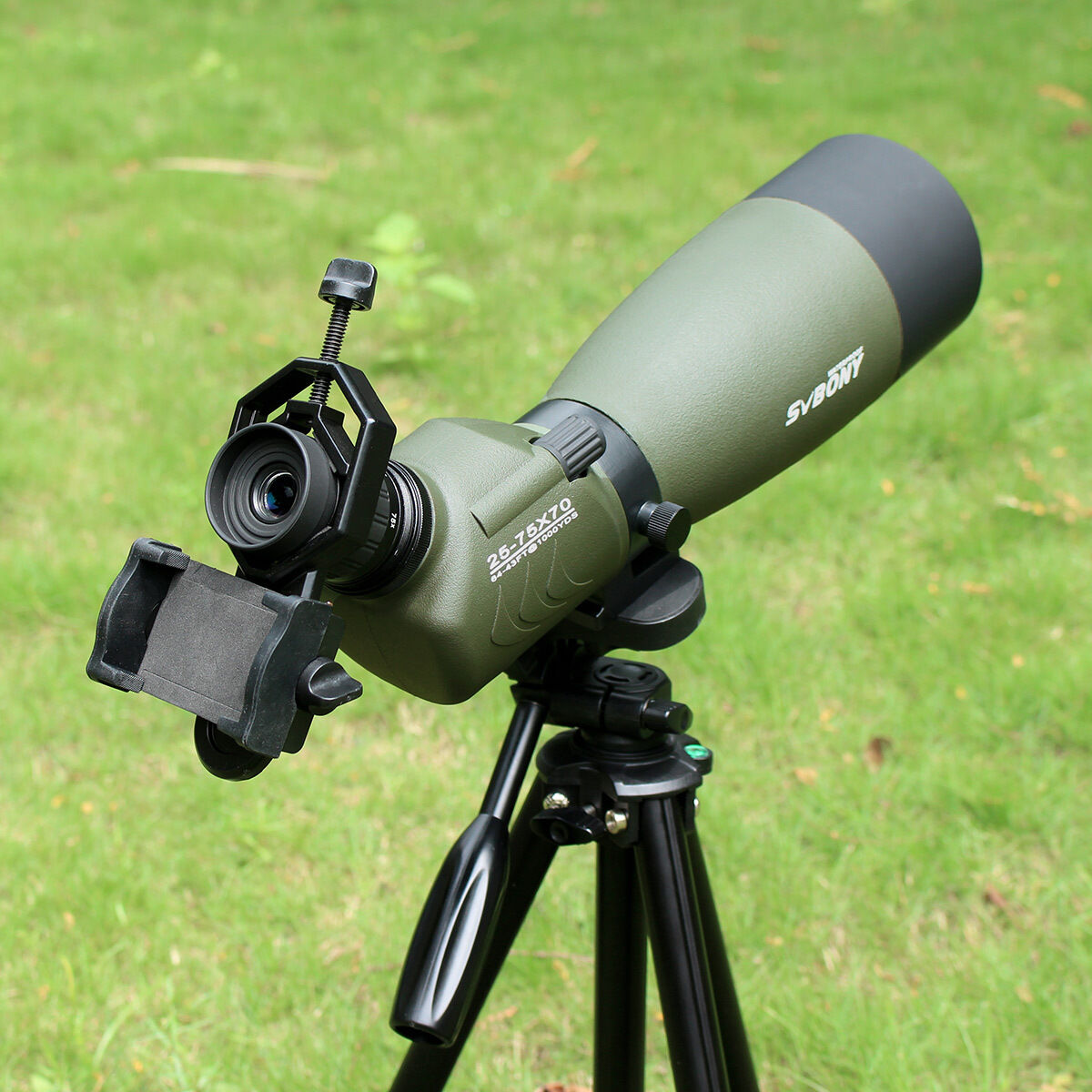 SVBONY FMC 25-75x70mm Angled Zoom &Cell Spotting Scope w/ Tripod &Cell Zoom Phone Adapter f56c4c