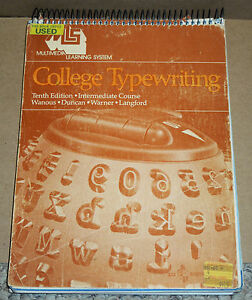 College-Typewriting-Intermediate-Course-Tenth-Edition-Softcover-SpiralBound-1981