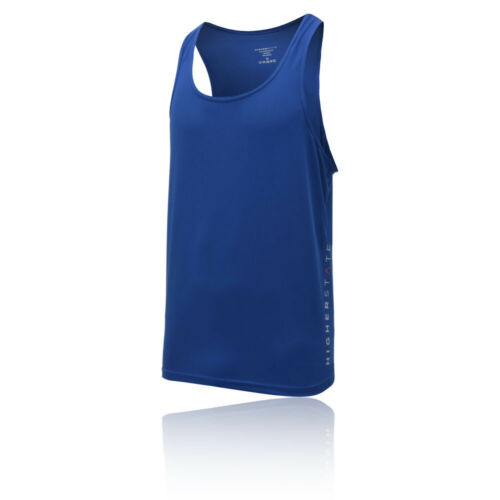 Higher State Mens Running Singlet 2.0 Blue Sports Breathable Reflective