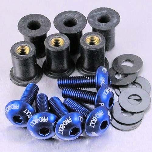 Blue SK6BE Kawasaki ZX-9R F1-F2 Ninja 02-03 Pro-Bolt Aluminium Screen Bolt Kit