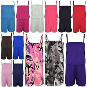 Kids Girls Plain Camo Charcoal Color Playsuit Trendy All in One Jumpsuit 5-13 Yr