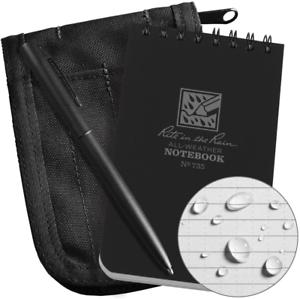 "Rite In The Rain Weatherproof 3"" x 5"" Top-Spiral Notebook Kit: Black Cordura"