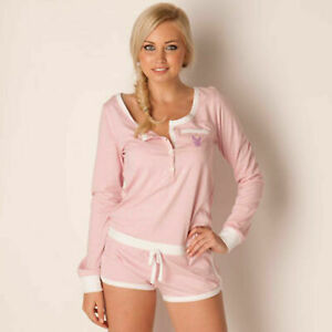 Playboy Womens All In One Pyjamas Jumpsuit Playsuit Loungewear Pink Size 16 New
