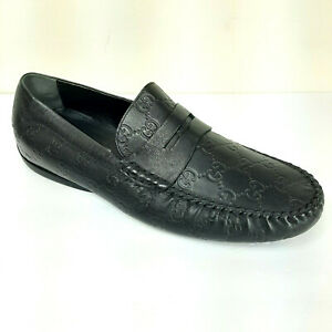 NEW-Gucci-Black-Leather-Penny-Loafer-Monogram-Amputee-Right-ONE-SHOE-Guccissima