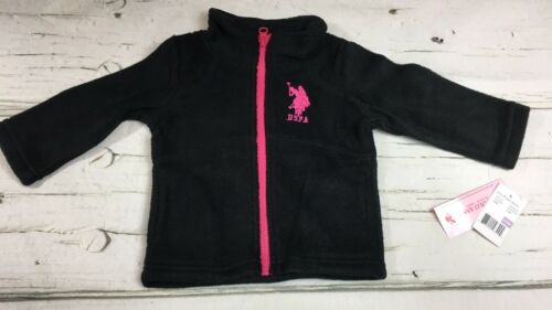 Pink NWT Baby Girls Size 6-9M US POLO ASSN Fleece Zip Front Jacket Black