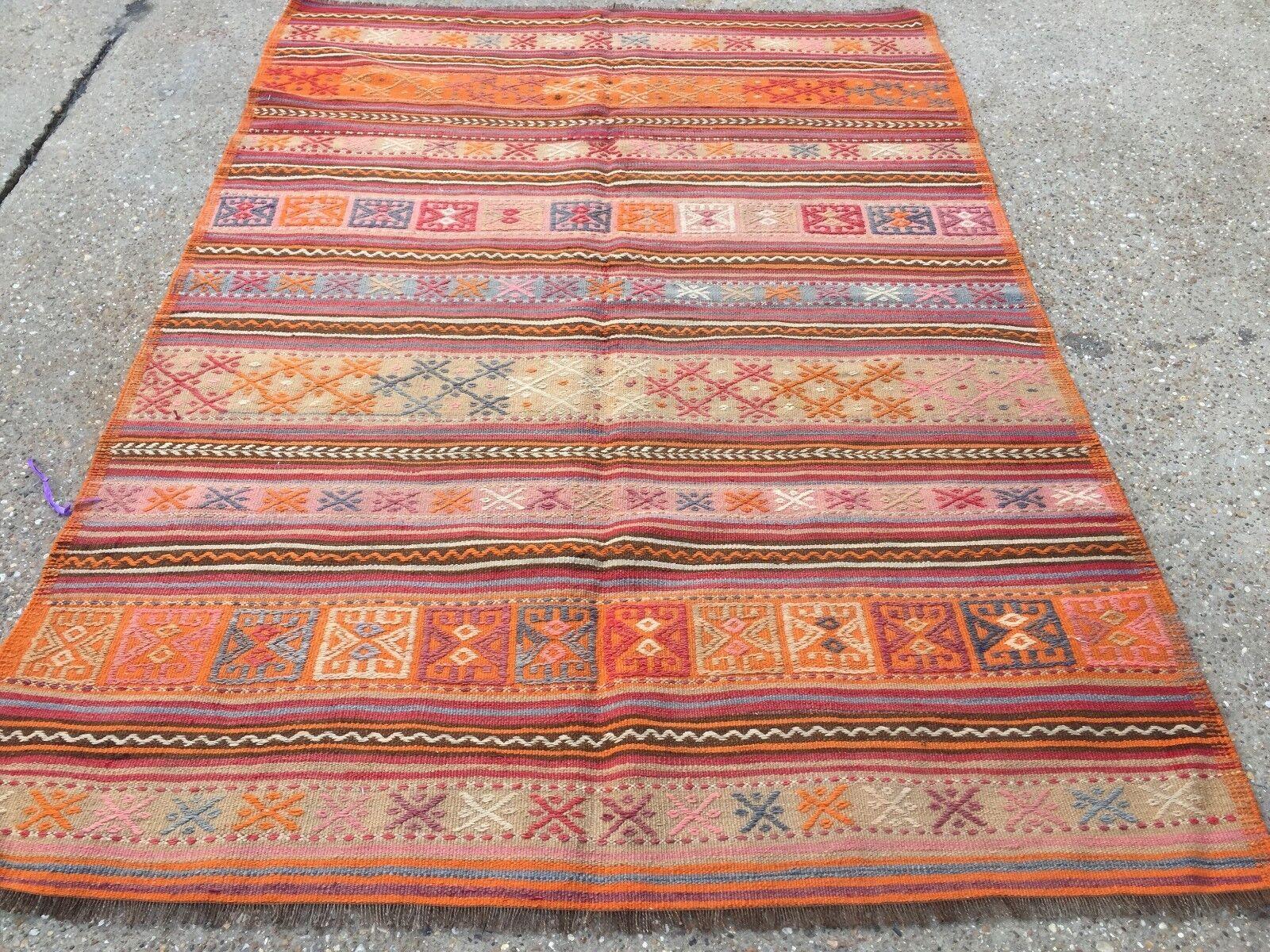 Antique Turkish Kilim rug shabby 206x142cm vintage ancien laine Country Home Kelim 206x142cm shabby 08c543