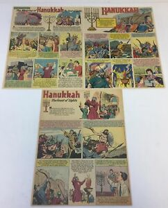 lot-of-3-HANUKKAH-cartoon-pages-1950-039-s-9-5x12-inches